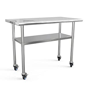 Stainless Steel Prep Table 48x24 Inches NSF Commercial Work Table Food Metal Table Heavy Duty Kitchen Garage Tables Worktables and Workstations Sandwich Top with 4 Caster Wheels