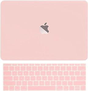"TOP CASE - 2 in 1 Signature Bundle Rubberized Hard Case + Keyboard Cover Compatible MacBook 12-Inch 12"" Retina Display Model A1534 (Release 2015) - Rose Quartz"
