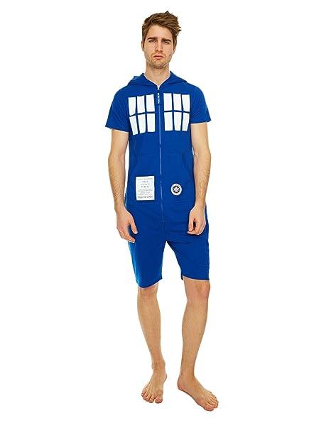 Doctor Who pijama, incluye el mono Tardis pantalón corto para hombre Azul