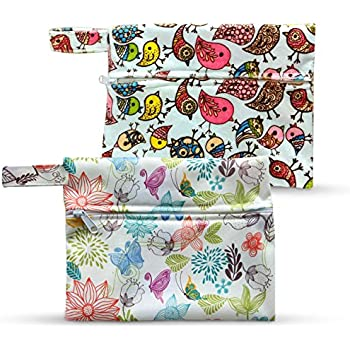 Dutchess Wet Bags x2 - Ideal for Reusable Menstrual Cloth Pads and Cups - Breast Pads - Incontinence Underwear or as Diaper Wet Dry Washable Storage Bag