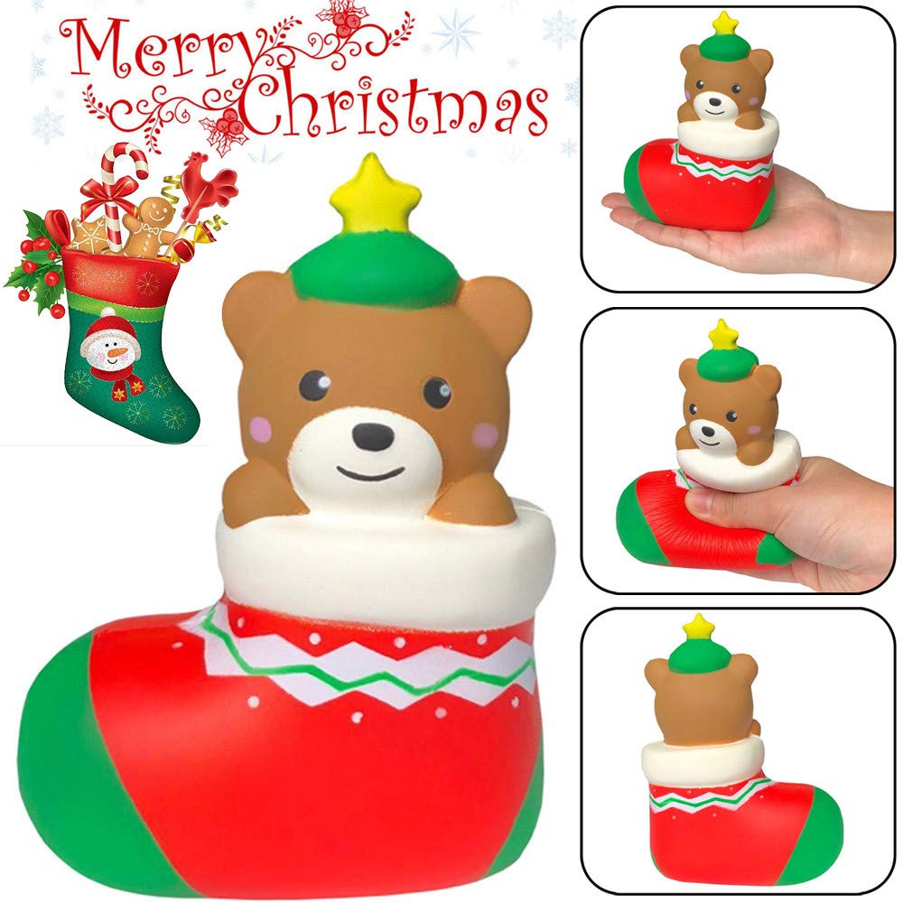 BBTshop Squishies Cute Christmas Bear Gift Slow Rising Fruits Scented Stress Relief Toy
