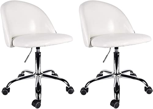 Set of 2 Mid Back Swivel Adjustable Home Office Chair Modern PU Computer Desk Chair