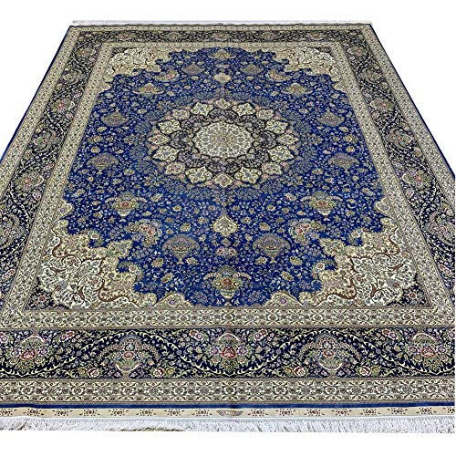Camel Carpet 9x12ft Vintage Blue Handmade Silk Persian Carpet Large Size Pure Hand Knotted Oriental Area Rug Home Decor…