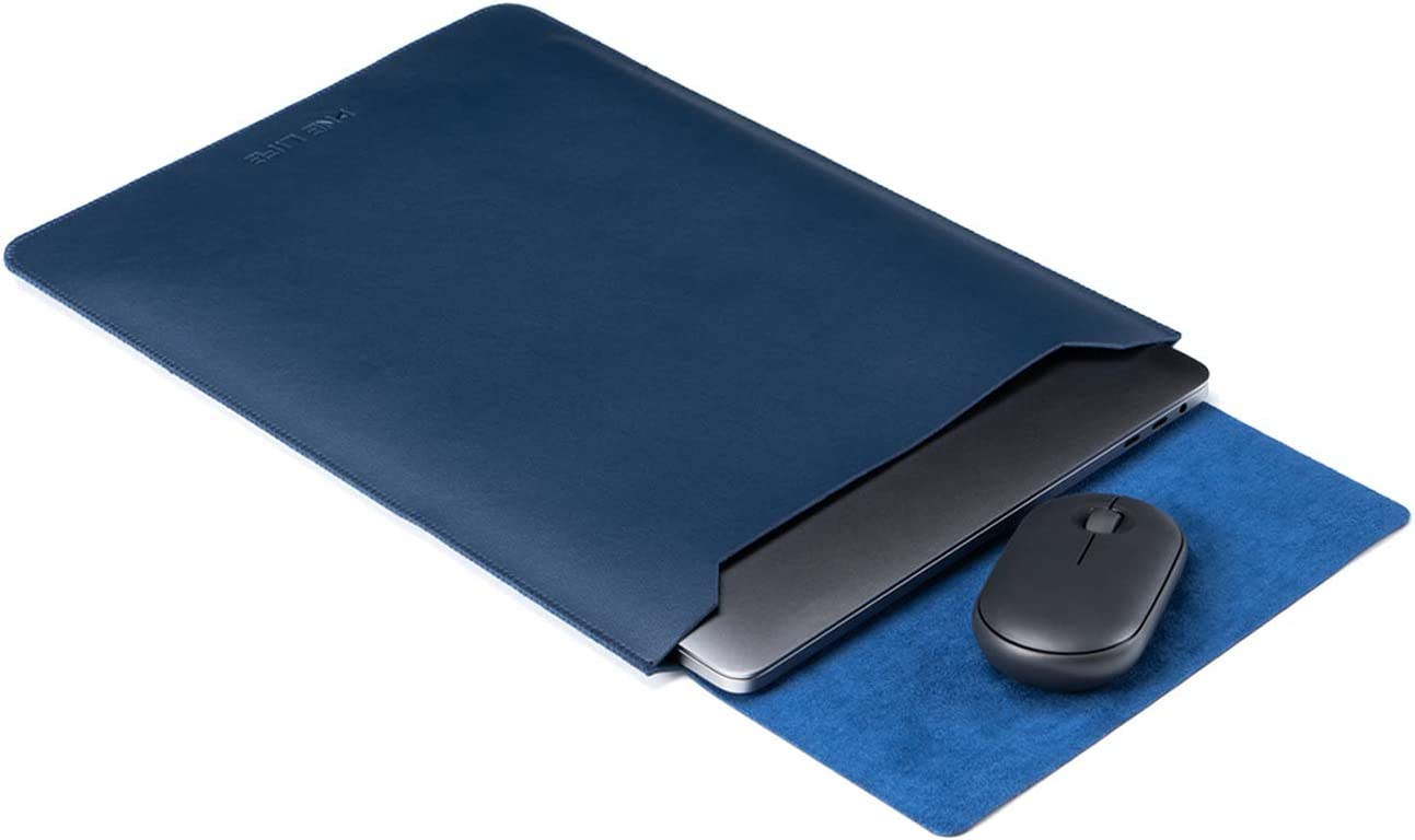 ONE LIFE 13-Inch Leather Laptop Sleeve Case with Mousepad for 13 Inch MacBook Pro Model A2251 / A2289 / A2159 / A1989 / A1708 / A1706 and MacBook Air A1932 A2179 (13 Inch, Navy)