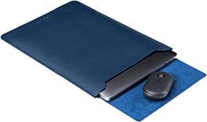 ONE LIFE 16-Inch Leather Laptop Sleeve Case with Mousepad for MacBook 16 Inch A2141 (16 Inch, Navy)