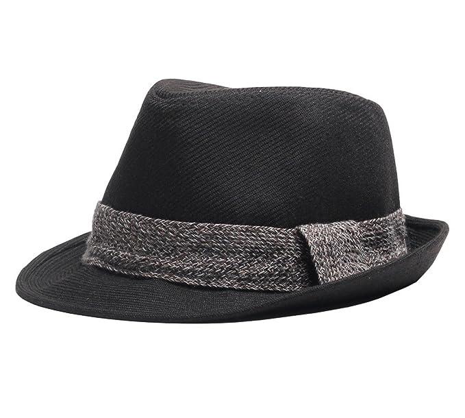 a15ae4605c6 missfiona Wide Braided Band Cotton Fedora Jazz Hat for Men Women Accessories (Black)