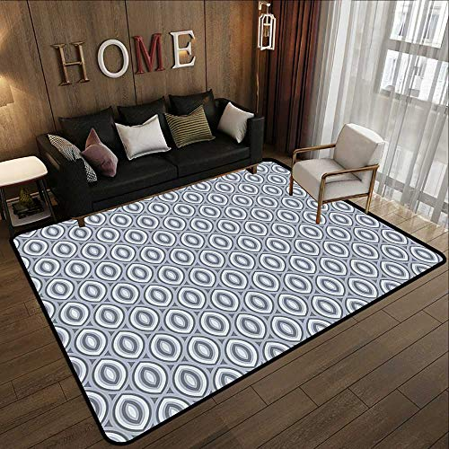 Rugs for Kitchen Floor,Grey Decor,Medieval Decor Style Bean Shaped Ellipse Focal Special Type of Repeating Cone Motifs,Iron 55
