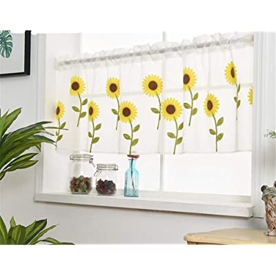 "WPKIRA Voile Sheer Valance - Kitchen Window Treatment Voile Valances Rod Pocket Embroidery Sunflower Sheer Tier Curtains for Small Window/French(Sunflower, 1 Panel Per Package, 39""Wide x 21"" Long): Toys & Games"