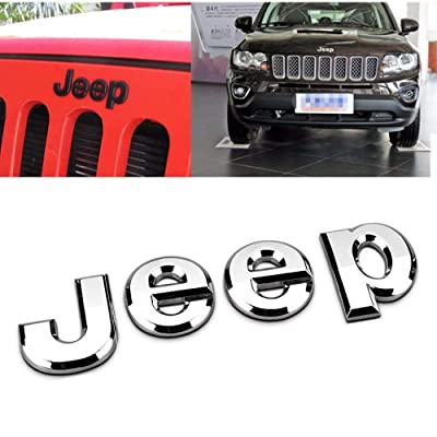 3D Sticker jeep Front Bonnet Emblem Boot Words jeep Head Hood Logo Sticker Wrangler Grand Cherokee Liberty Compass (sliver): Automotive
