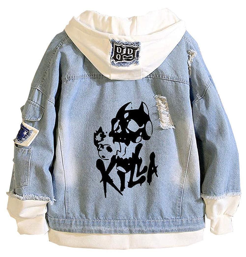 Gumstyle Anime JoJo/'s Bizarre Adventure Denim Hoodie Jacket Adult Cosplay Button Down Jeans Coat