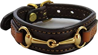 product image for Fine Leather Equestrian Brass Bit Bracelet