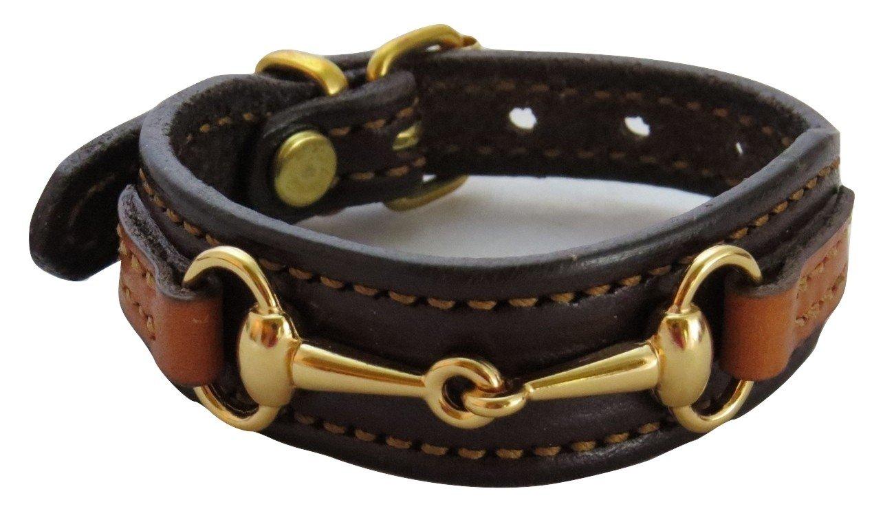 Fine Leather Equestrian Brass Bit Bracelet