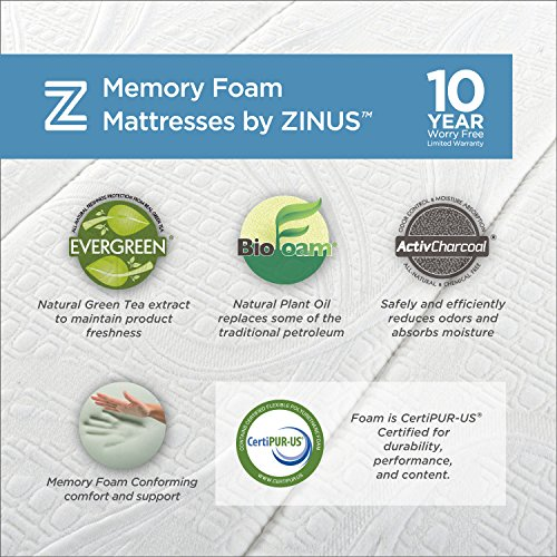 Zinus Memory Foam Green Tea Mattress, 12-Inch, Queen