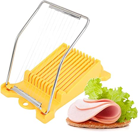 Stainless Steel Wire Cheese Slicer,Boiled Egg Fruit Sushi Cutter New Luncheon Meat Slicer Fruit and Soft Cheeses Evenly Dividing Tool Slice Meats