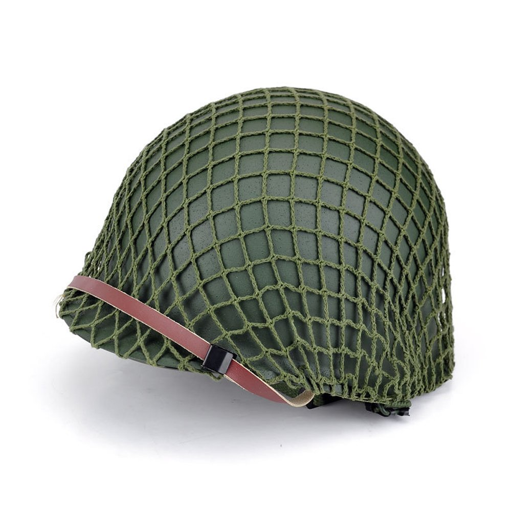 Men's WWII US Army Stainless Steel Army Green Helmet
