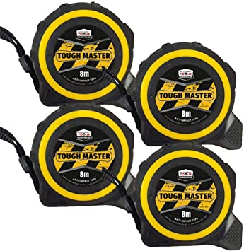 Toughmaster Pocket Tape Measures Metric//Imperial 8M//26ft Anti-Impact 25mm Wide Pack of 6