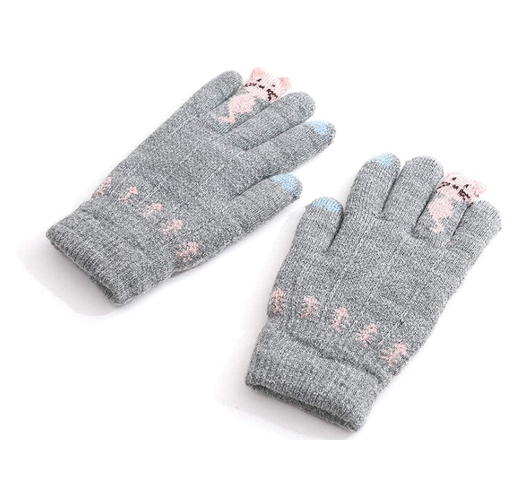 Enfant gants hiver Gants Chat Mitaine de doigt complet Gants Fille Gants  Chaud en Peluche Moufles Epais Bébé Gants Moufle en Coton pour hiver Gants  Tricoté ... b15740a7545