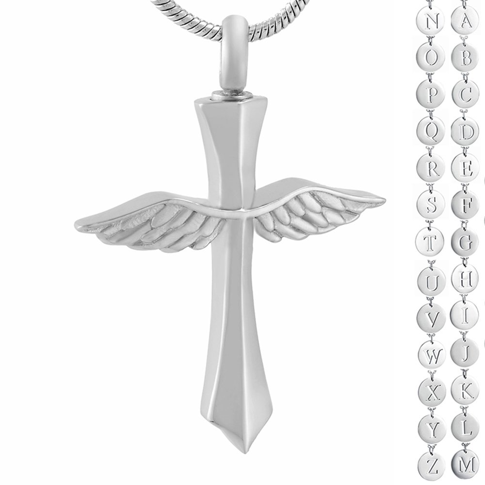 Memorial Jewelry Letter Personalized Angel Wings Cross Urn Pendant Rememberance Cremation Jewelry