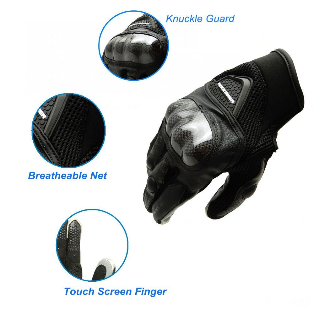 KEMIMOTO Motorcycle Gloves Summer Outdoor Sports Gloves Touch Screen Carbon Fiber Knuckle Protection (XL,Black)