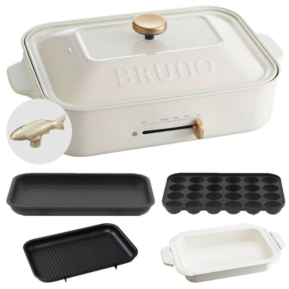 BRUNO コンパクトホットプレート + セラミックコート鍋 + グリルプレート + デコレーションノブ フィッシュ 4点セット (ホワイト)  ホワイト B0734TS5CK