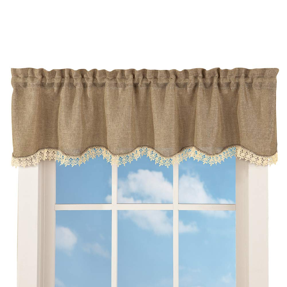 Collections Etc Brown Rustic Burlap Window Valance Curtain with Rod Pocket Top - Machine Washable Polyester Window Accent, Curved Bottom Seam Trimmed with Cream-Colored Lace, Brown