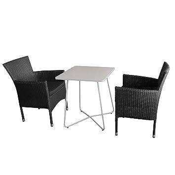 Balkonmöbel Set Bistrotisch, Metall, 60x60cm, Weiß + 2x Rattansessel  Stapelbar Inkl