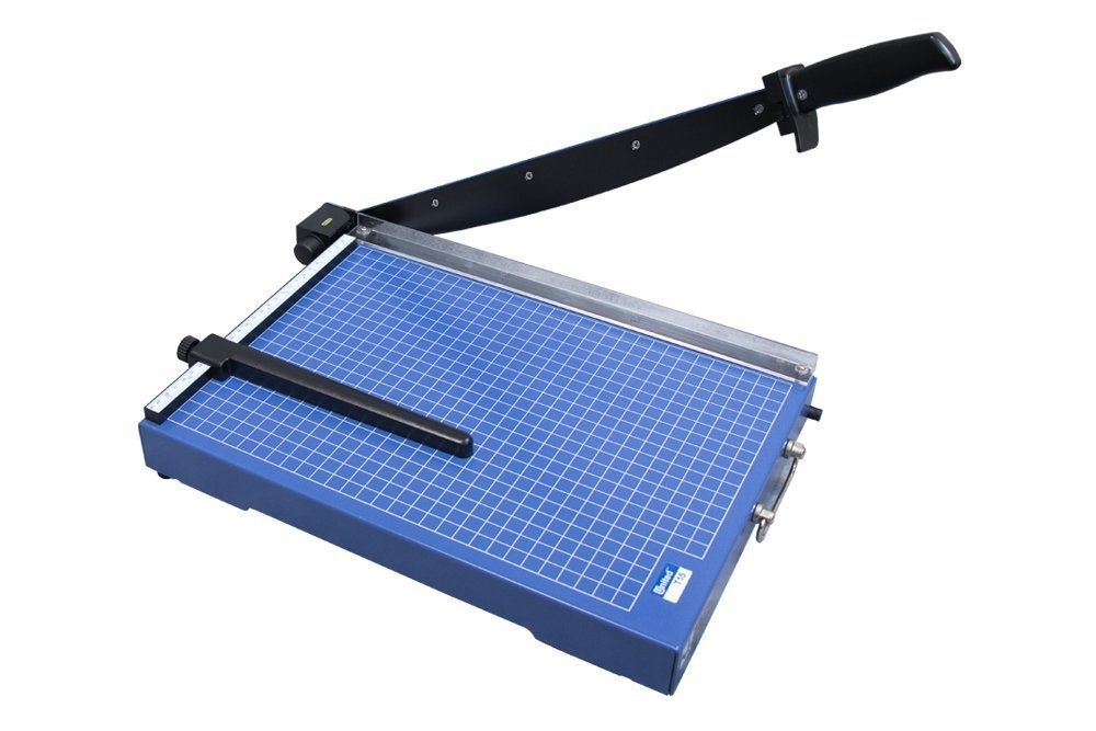 United United T15; 15'' Office-Grade Guillotine Trimmer, 15 Sheet Capacity With Carbon Steel Blade And Solid Steel Construction, Blue