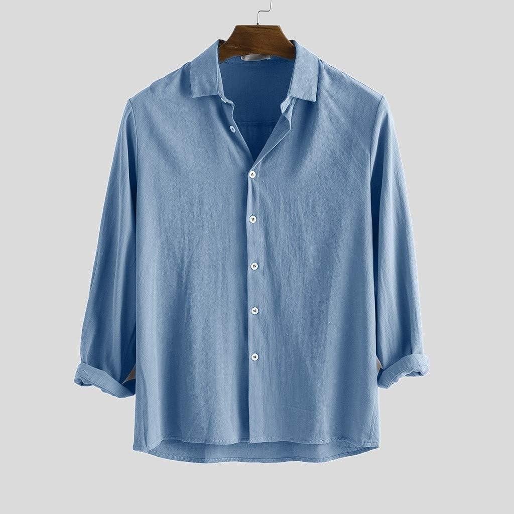 2019 - Camisa de Verano para Hombre, de algodón, con Cuello ...
