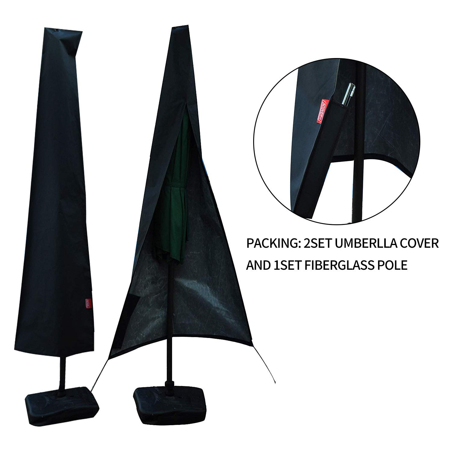 2set Umbrella Covers,Patio Waterproof Market Parasol Covers with Zipper for 8ft to 10ft Outdoor Umbrellas Large Included A Set Fiberglass Pole by acoveritt