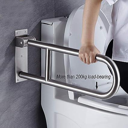 KMILE Barra de Agarre Plegable para Inodoro,Barra de Apoyo para baño abatible,Barandillas de Seguridad de Acero Inoxidable,Ancianos/discapacitados/Barandilla de Inodoro: Amazon.es: Hogar