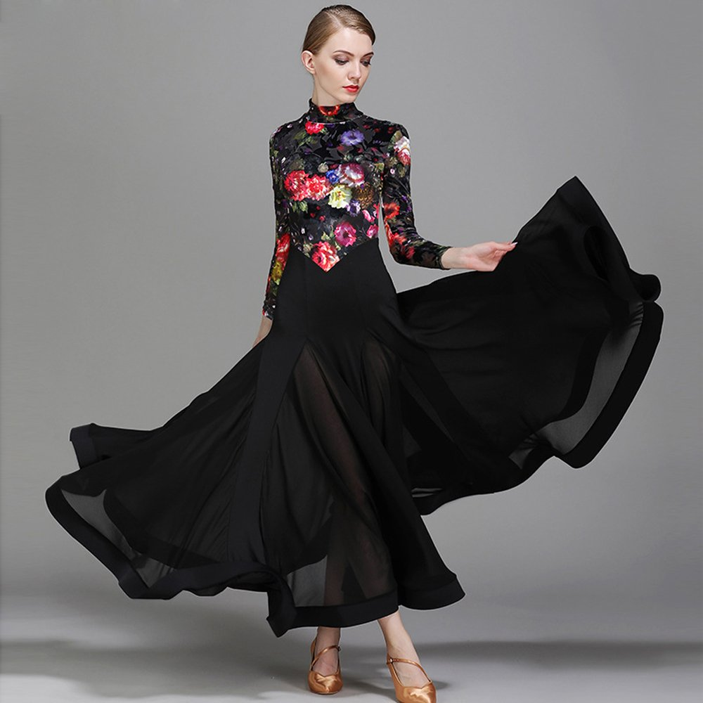 モダンな女性ベルベットモダンダンスドレスビッグ振り子タンゴとワルツダンスドレスダンスコンペティションスカートロングベルベットフラワーダンスコスチューム B07HHVXK6M Medium|Black Black Medium