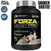 Proteína Aislada de suero en polvo Forza Whey-Pro Forzagen Premium Series 5 lb Choco Coco Suplemento Gym (***Nueva Imagen, Nueva Fórmula***) Ahora con Shaker Gratis!