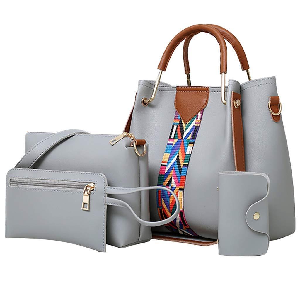 Envias Leatherette Latest Handbags For Women's Ladies Combo Of 4 (Grey_PrintStrip_EVS-120-2)