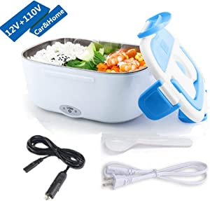 Electric Lunch Box, 2 in 1 Food Heater Car Use 12V and Home Use 110V, Portable Lunch Heater, Removable Stainless Steel Container, Spoon and Compartments Included (Blue)
