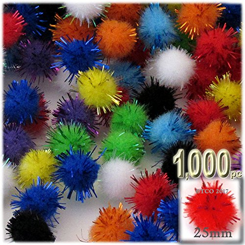 The Crafts Outlet Chenille Sparkly Pom Poms, porcupine, 1.0-inch (25-mm), 1000-pc, Multi Mix by The Crafts Outlet