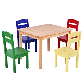 Costzon Kids 5 Piece Table Chair Set, Pine Wood Multicolor Table Set