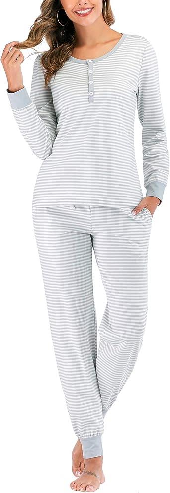 MINTLIMIT Women Pyjamas Set Ladies Cotton Loungewear Long Sleeve Top /& Bottoms with Pockets Outfits Soft Cartoon Pattern Sleepwear Nightwear PJ Set