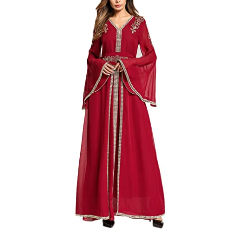 Zhhlinyuan Vintage Ladies Mangas Largas Vestidos de Fiesta Marroquí Kaftan Caftan Bordado Vestido Abaya Ropa Islámica: Amazon.es: Ropa y accesorios