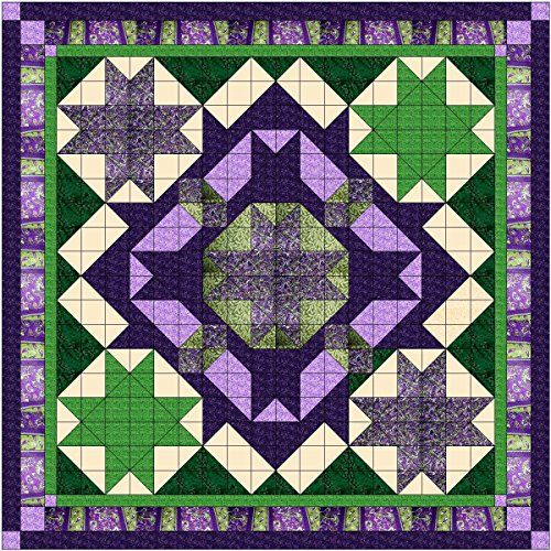 Easy Quilt Kit Celtic Star/Purple/Green Queen by MDG