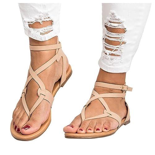 1e6ef75cbbfca Inkach Women Flip-Flops ❤ Fashion Summer Cross Straps Flat Sandals ❤ Ankle