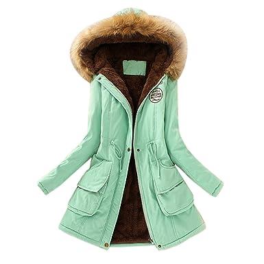 Goosuny Damen Mantel Jacke Mit Faux Fellkapuze Lang Slim Fit Pelzkragen  Wintermantel Jacket Warme Zip Long a108efdf43