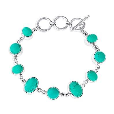 Ornami Sterling Silver Turquoise T-Bar Bracelet C8m5bQ8oLH