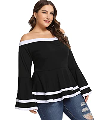 bee60de3b01 Lalagen Women Plus Size Casual Off Shoulder Peplum Bell Sleeve Blouse Tops  Black XL