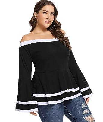 523510cd3c3a1e Lalagen Women Plus Size Casual Off Shoulder Peplum Bell Sleeve Blouse Tops  Black XL