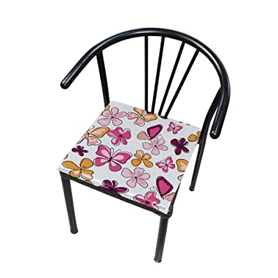 "Bardic HNTGHX Outdoor/Indoor Chair Cushion Cute Butterfly Flower Square Memory Foam Seat Pads Cushion for Patio Dining, 16"" x 16"": Home & Kitchen"