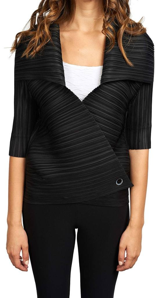 Joseph Ribkoff Black Pleated Material Coverup Jacket Style 173996 - Size L/XL