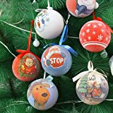 Christmas-Themed Santa Snowman Painting Shatterproof Christmas Balls Decorative Hanging Christmas Ornaments Baubles Set for Xmas Tree Holiday Wedding Party Decor (Multicolor)