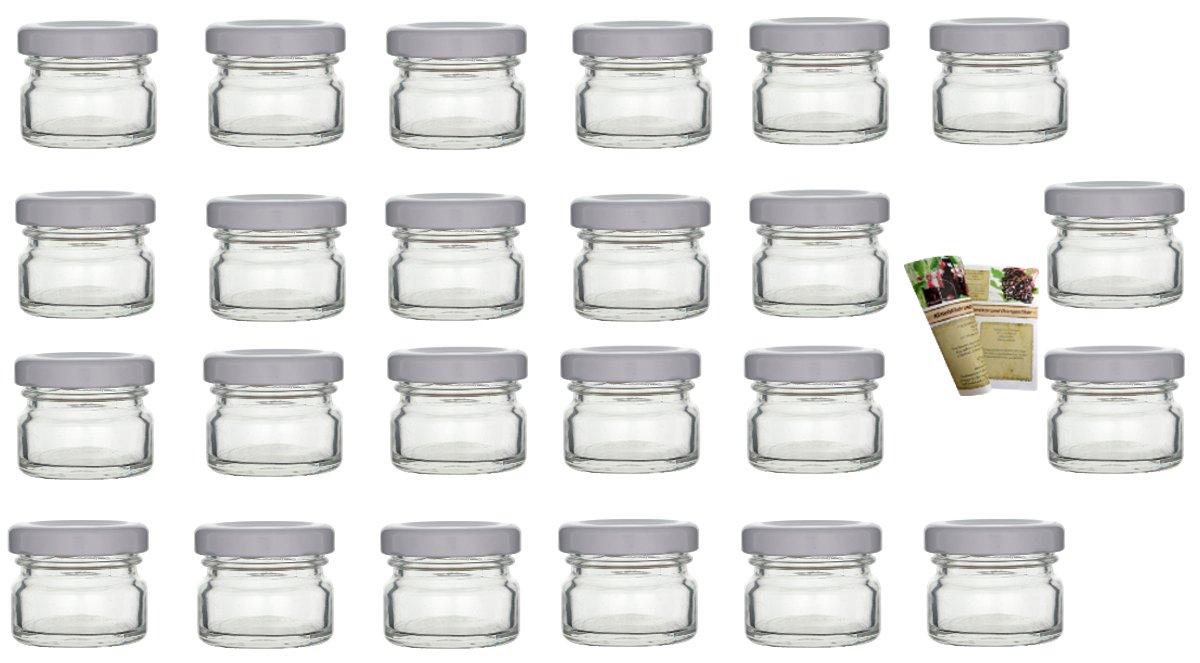 gouveo Set di 24 vasetti Mini 30 ml con chiusura girevole TO 43 bianco, vasetti di stoccaggio, vassoi di marmellata, conservazione vasetti, vasi di spezia, vasi invertenti