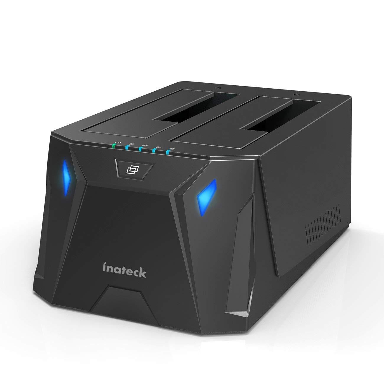 Inateck (FD2005) Base de Conexió n para Disco Duro Docking Station con Doble Bahí as USB 3.0 para SATA I/II/III HDD y SSD DE 2.5-3.5'con la Funció n de Clone Offline es Compatible con UASP, 10 TB, Negro