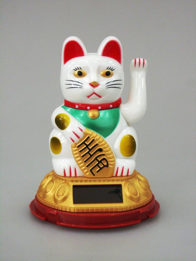 Feng Shui Glückskatze 10cm Winkekatze Maneki Neko GOLDFARBEN SOLAR